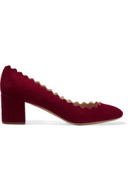 Lauren scalloped suede pumps