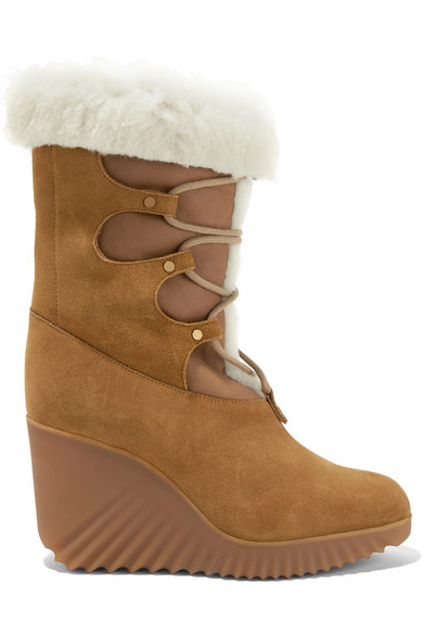 Chloé - Shearling-trimmed Suede Wedge Boots - Tan