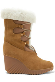 Chloé Shearling-trimmed suede wedge boots