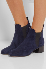 Chloé Suede scalloped ankle boots