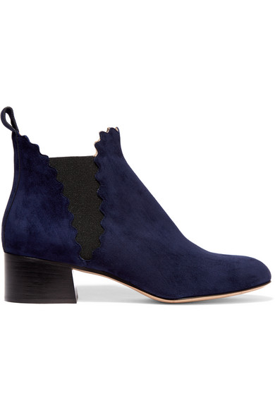Chloé - Suede Scalloped Ankle Boots - Midnight blue