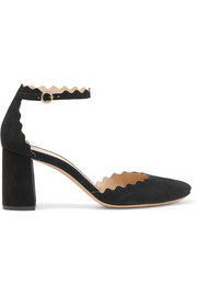 Chloé Scalloped suede pumps