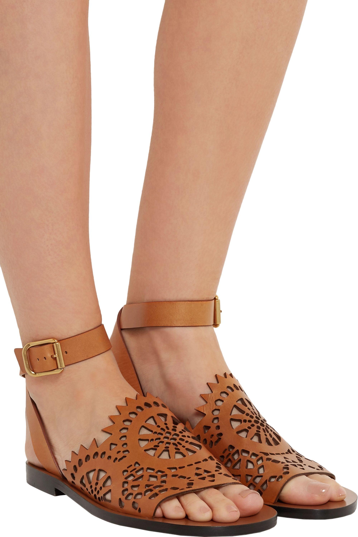 Chloé Laser-cut leather sandals