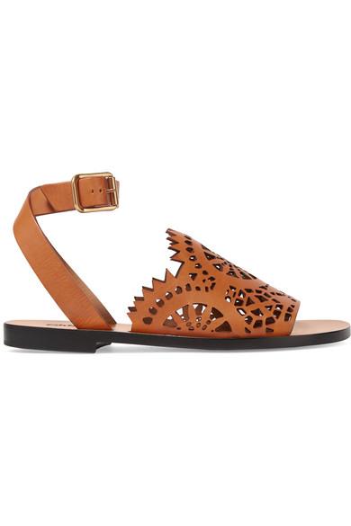 Laser cut leather sandals