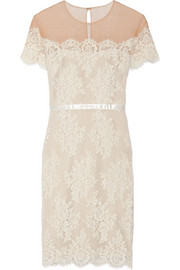 Marchesa Notte Tulle-paneled lace dress