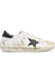 Super Star distressed calf hair-paneled leather sneakers