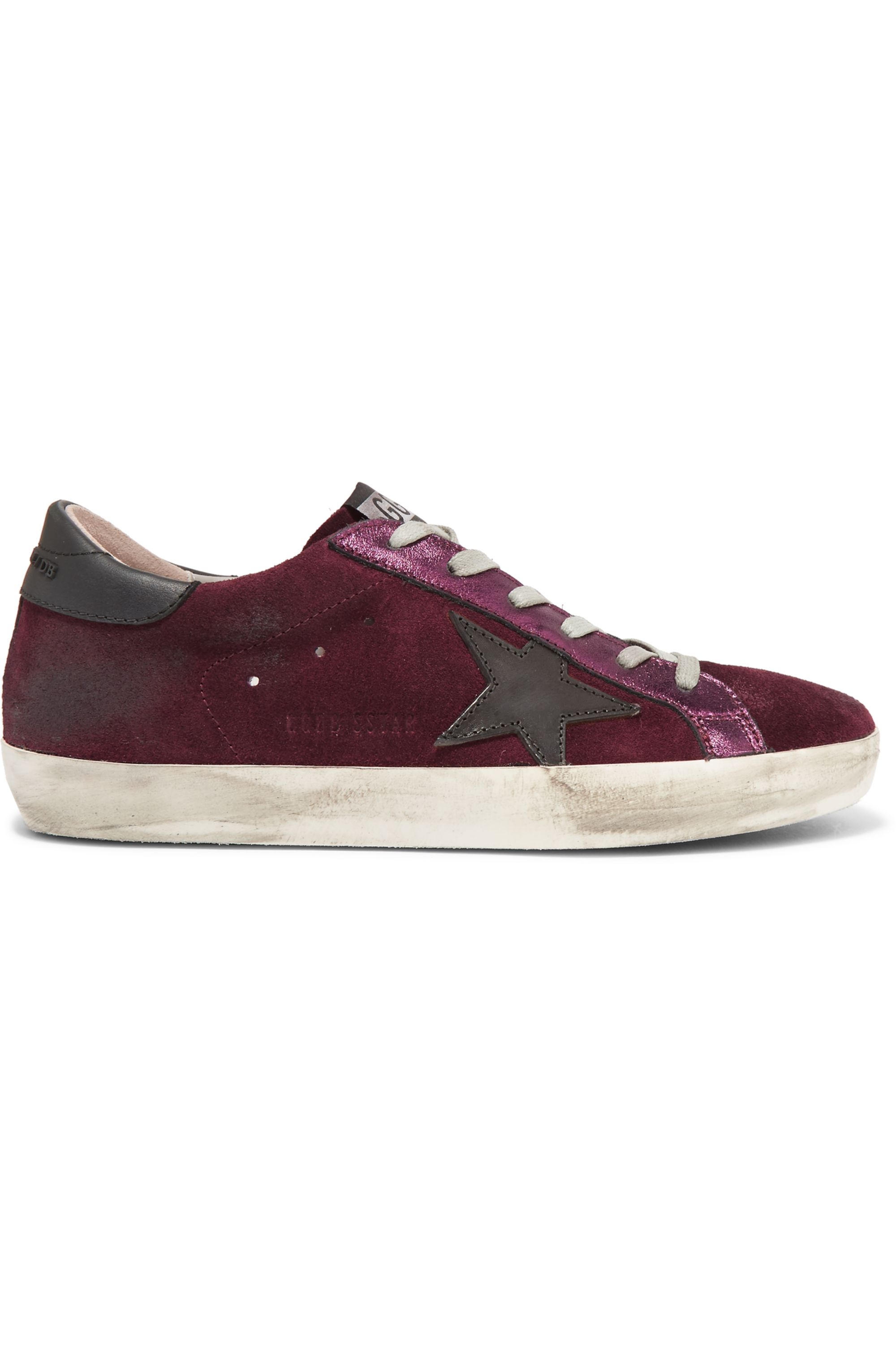 metallic leather-paneled suede sneakers