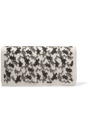 Embroidered intrecciato leather clutch