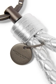 Bottega Veneta Metallic intrecciato leather keychain