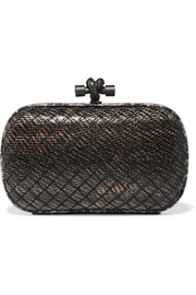 Bottega Veneta The Knot watersnake-trimmed intrecciato karung clutch
