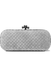 Knot watersnake-trimmed quilted velvet clutch