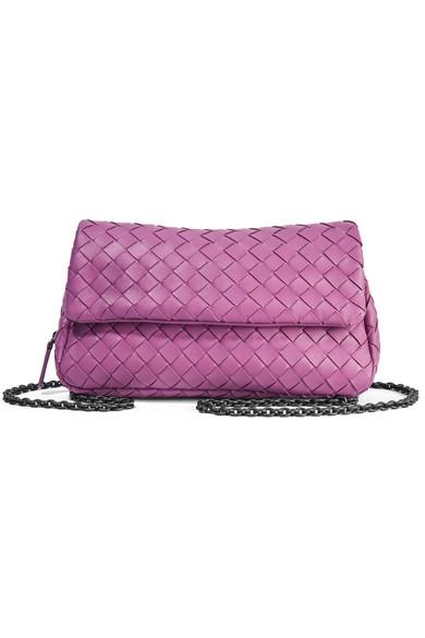 bottega veneta female bottega veneta messenger mini intrecciato leather shoulder bag purple