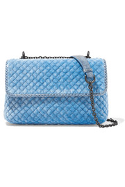 Bottega Veneta Olimpia watersnake-trimmed quilted velvet shoulder bag