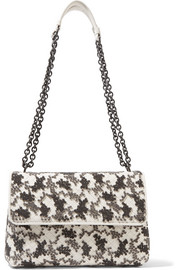 Olimpia small embroidered intrecciato leather shoulder bag