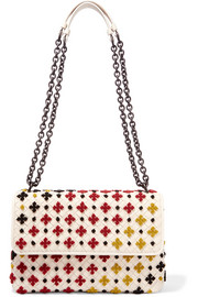 Bottega Veneta Olimpia small embroidered intrecciato leather shoulder bag