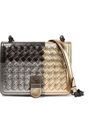 Bottega Veneta Mini intrecciato metallic leather shoulder bag