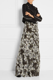 Erdem Sigrid tiered printed silk-georgette maxi skirt