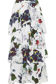 Erdem Simone tiered floral-print silk crepe de chine skirt
