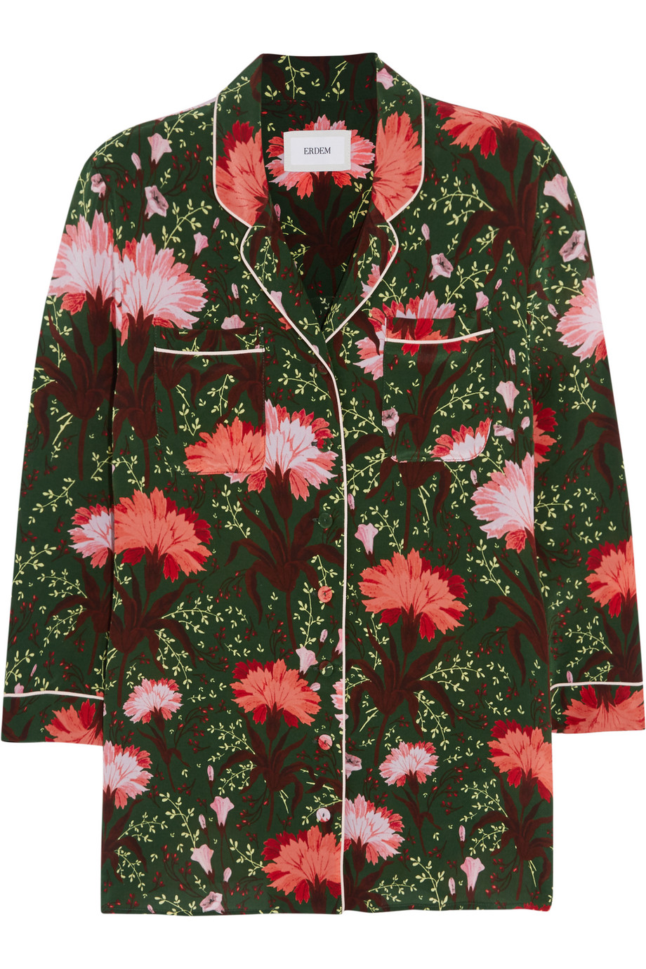 Erdem Ray Floral-Print Silk-Satin Blouse, Green/Pink, Women's, Size: 10