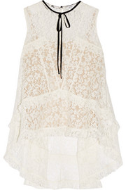 Erdem Bess ruffled lace top
