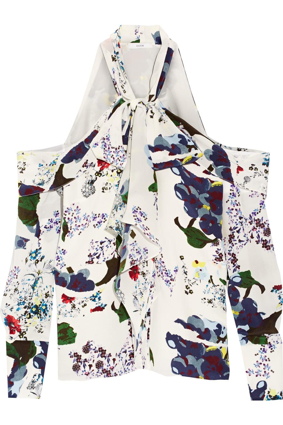 Erdem Aila Pussy-Bow Cutout Silk Crepe De Chine Blouse, White, Women's, Size: 16