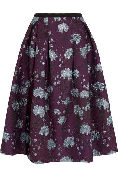Erdem - Imari Metallic Floral-jacquard Midi Skirt - Burgundy