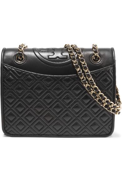 Tory Burch - Fleming Medium Quilted Leather Shoulder Bag - Black