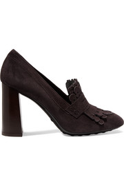 Fringed suede pumps
