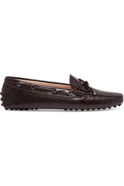 Gommino lizard-effect leather loafers