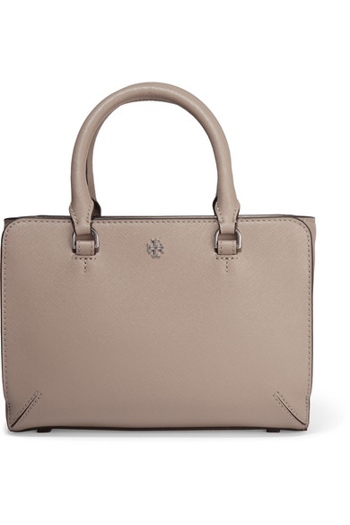 tory burch female  tory burch robinson micro texturedleather tote mushroom