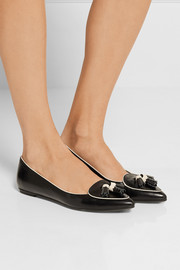 Tod's Tasseled leather point-toe flats