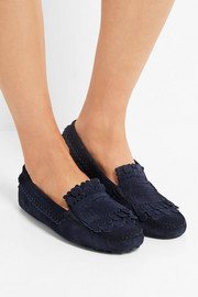 Tod's Fringed suede loafers