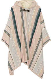 Leather-trimmed striped cashmere-blend cape