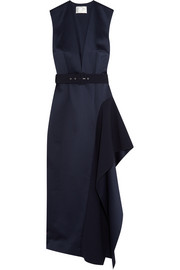Simpson asymmetric belted charmeuse midi dress