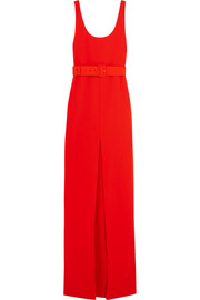 Tara belted stretch-crepe gown