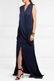 Erica wrap-effect satin gown