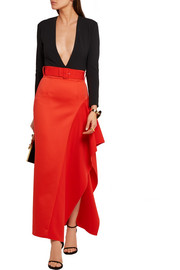 Kaya asymmetric belted charmeuse maxi skirt