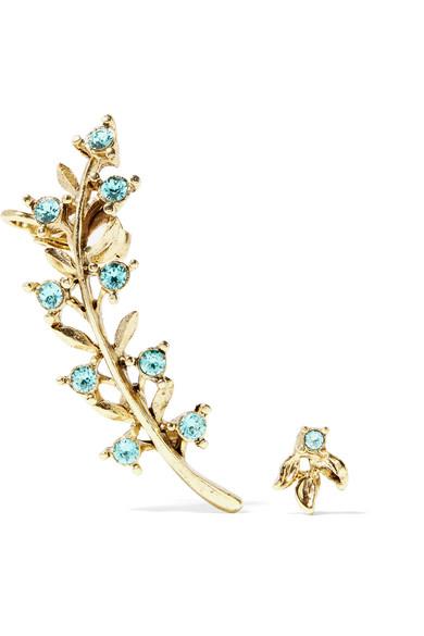 Oscar de la Renta - Gold-plated Crystal Earrings