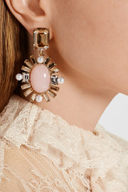 Oscar de la Renta Gold-plated multi-stone clip earrings