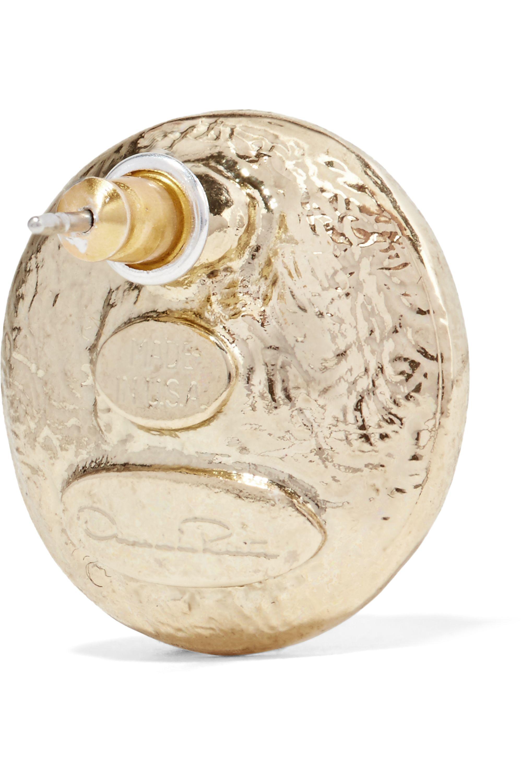 Oscar de la Renta Hammered gold-plated faux pearl earrings