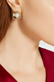 Oscar de la Renta Hammered gold-plated faux pearl earrings