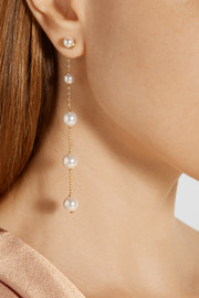 Oscar de la Renta Silver and pewter-plated Swarovski pearl earrings