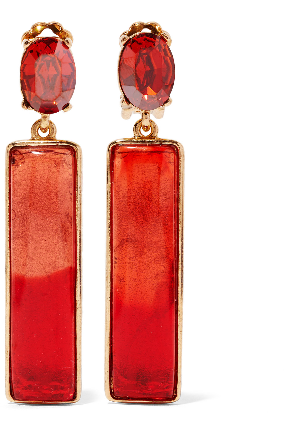 Oscar De La Renta Gold-Plated, Resin and Crystal Earrings, Red, Women's