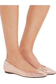 Bottega Veneta Intrecciato metallic leather ballet flats