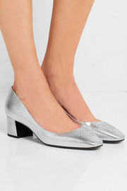 Bottega Veneta Metallic intrecciato leather pumps