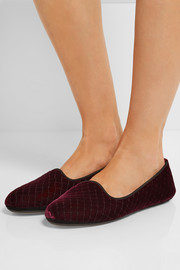 Bottega Veneta Embroidered velvet slippers