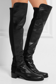Reserve leather and stretch over-the-knee boots