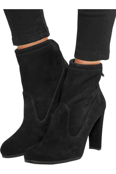 stuart weitzman glove stretch suede ankle boots net a