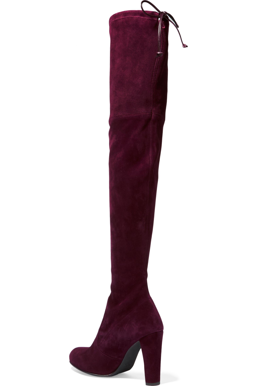 Stuart Weitzman Highland Overknees aus elastischem Veloursleder