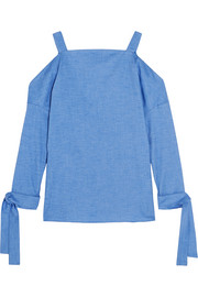 Tibi Cutout stretch-cotton chambray top